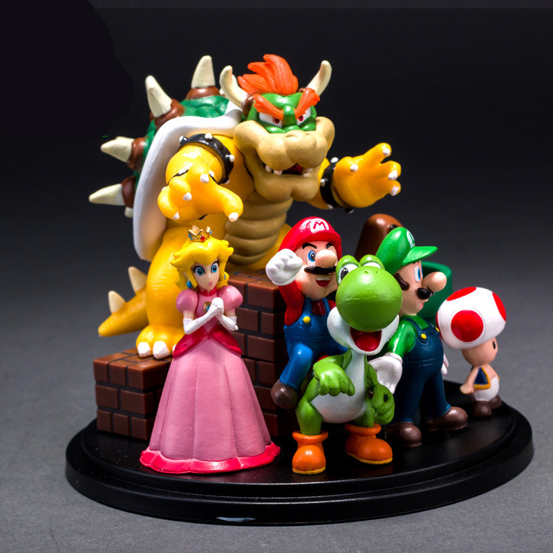10cm Super Mario Bros PVC Action Figure Toys, Super Mario Yoshi Dinosaur Figures Model Gift Toy / Brinquedos, Toy For Children 6 piece 10 14cm super mario action figure evade glue fair young car furnishing articles model holiday gifts ornament box packed
