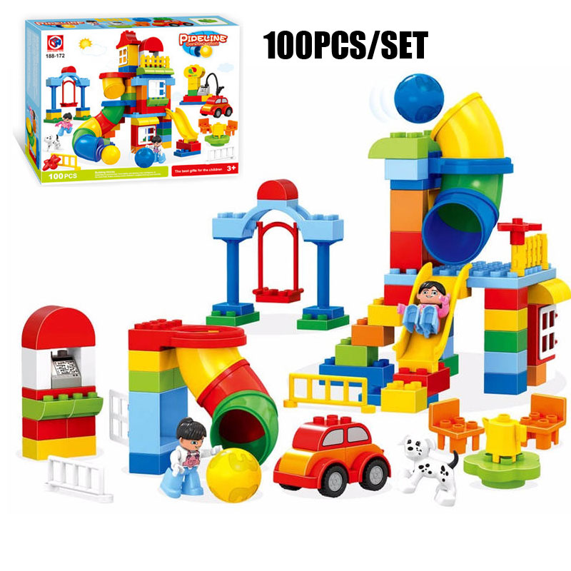100PCS Happy Paradise Pipeline Model Bricks Large Size Pipeline Ball Building Blocks Kids Educational Toys Compatible Duplo kid s home toys large particles happy farm animals paradise model building blocks large size diy brick toy compatible with duplo