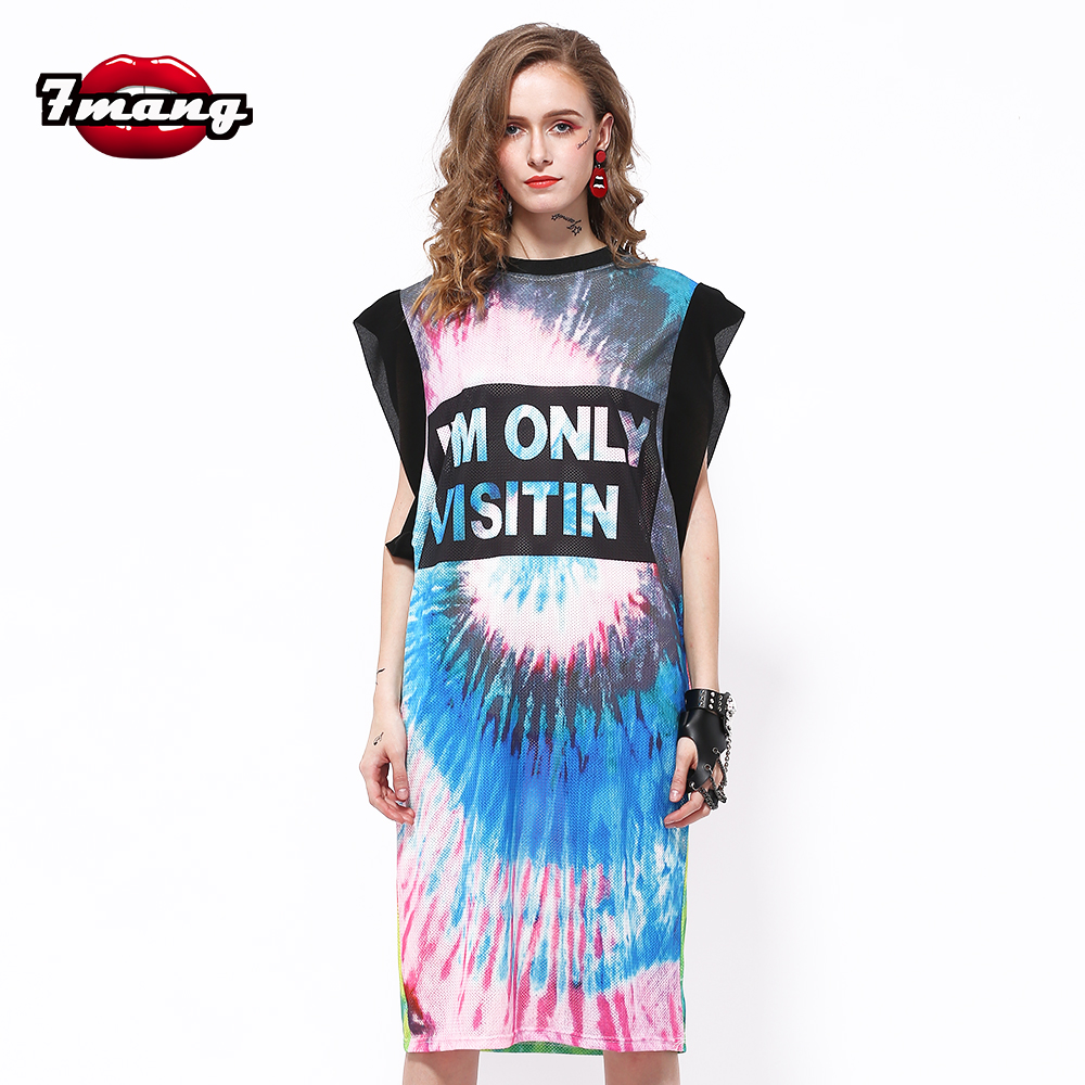 7mang Official Store 7mang 2017 summer women street gradient color cartoon smile face printing straight long dress fashion loose tee dress