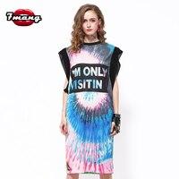 7mang 2019 summer women street gradient color cartoon smile face printing straight long dress fashion loose tee dress