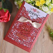 20pcs/lot Party Invitation Card Romantic Decorative Cards Envelope Delicate Flower Cut Carved Pattern Wedding Invitations