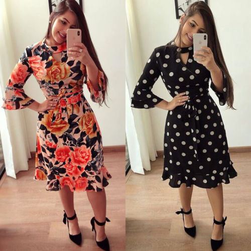 Women Clothing Long Sleeve Floral Party Casual Mini Dress Casual New Women Lady Bandage Bodycon