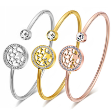 hot deal buy classic stainless steel charm open cuff bracelets & bangles for women round gold color stars face bangles jewelry party gift