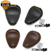 For Harley Sportster 883 XL1200 72 48 Bobber Chopper Custom cafe Brown Leather Vintage Front 3 Spring Bracket Solo Seat Cover