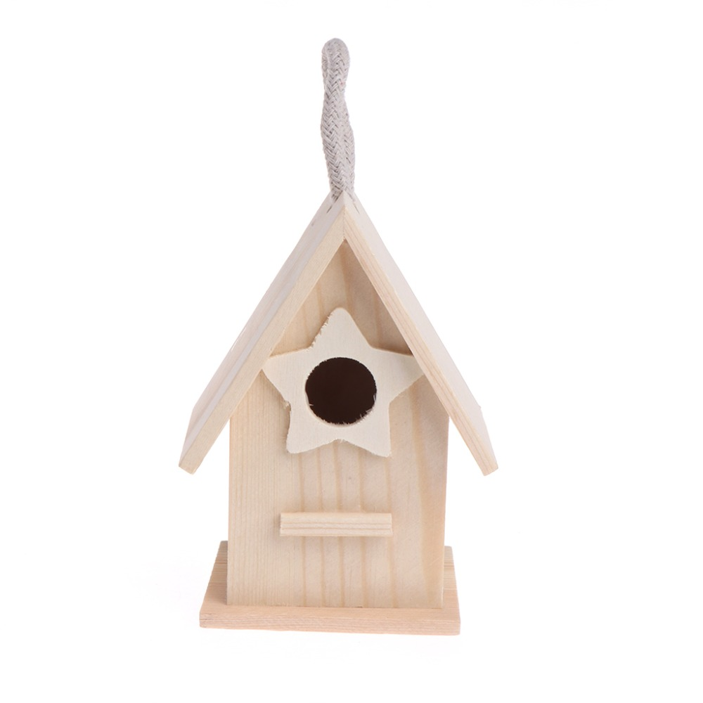 Wooden Garden Little Birds Wood Nesting House Nest Home Pet Supply Accessories