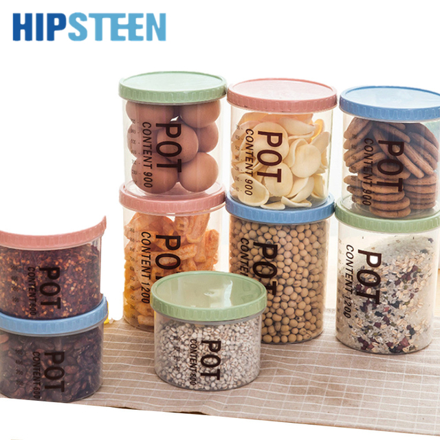 HIPSTEEN 3 Sizes Environmental Simple Style Sealed PP Canisters