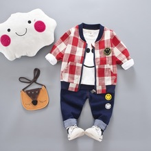 Spring autumn baby Boys lattice sets Fashion  linen jeans three-piece children