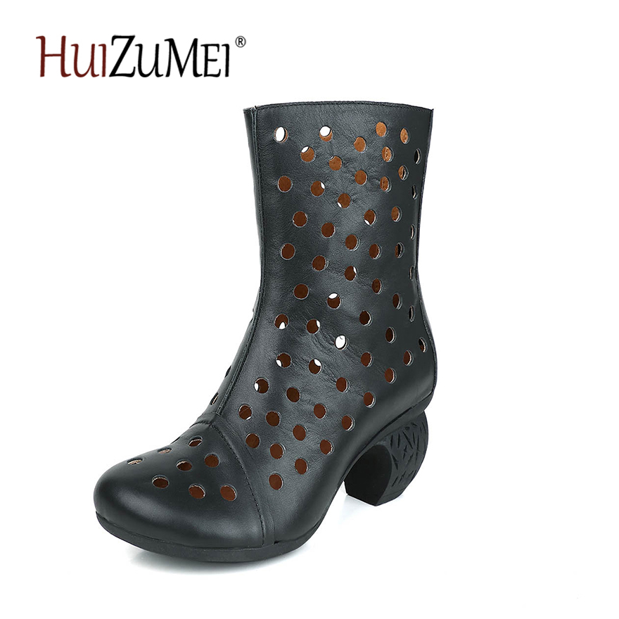 HUIZUMEI Original handmade genuine leather boots female Thick Heel comfortable round toe retro hollowed-out boots new arrival superstar genuine leather chelsea boots women round toe solid thick heel runway model nude zipper mid calf boots l63