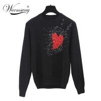 European Style New Fall Winer Women Star Celebrity Heart Flowers Sweet knitting sweater Warm Casual tops C 009