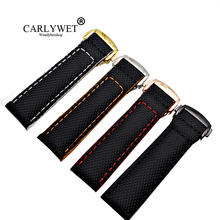 CARLYWET 18 20 22mm Wholesale Black With Stitches Nylon Leather Replacement Watch Strap Band For Omega Planet-ocean Seamaster