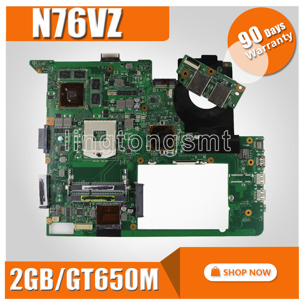 With 2GB Video Card GT740M/GT650 N76VZ Motherboard  For ASUS N76VZ N76VM N76VJ N76VB Laptop Mainboard N76VZ Motherboard Test  OK