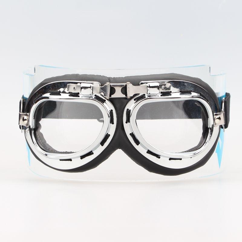 Piloto aviador Cruiser Chopper Motos Moto Goggles Óculos Moldura de Prata  lente Clara 06f17439fa