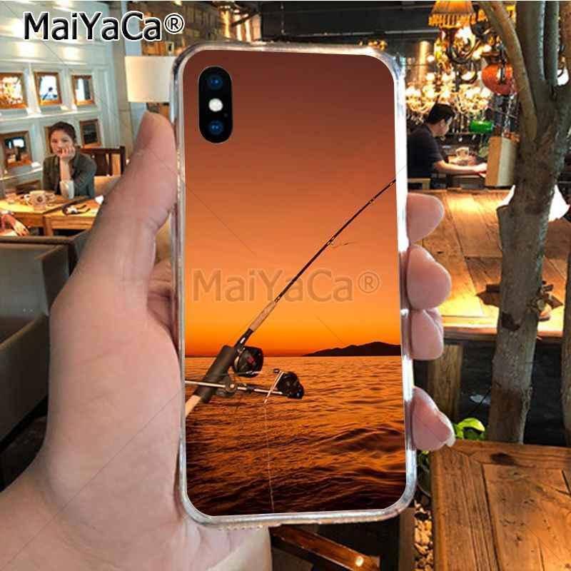 MaiYaCa 釣り 3 ロッド湖魚保護携帯電話ケース iphone 11 プロ max X XS 最大 5 6 S-PLUS 7 8 プラスケース