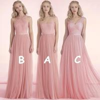 Mix Order Cheap Price Long Pink Bridesmaid Dresses 2016 Draped Tulle Formal Dress Eleagnt For Wedding Party