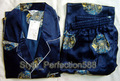 Free shipping ! Navy blue Men's Polyester Satin Robe Pajama Sets Sleepwear Nightwear SIZE S M L XL XXL XXXL ZT-2