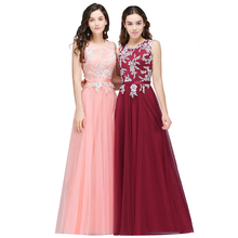 O Neck Sleeveless Lace Long Bridesmaid Prom Gowns Tulle Applique Short Party Homecoming Bridesmaid Dresses