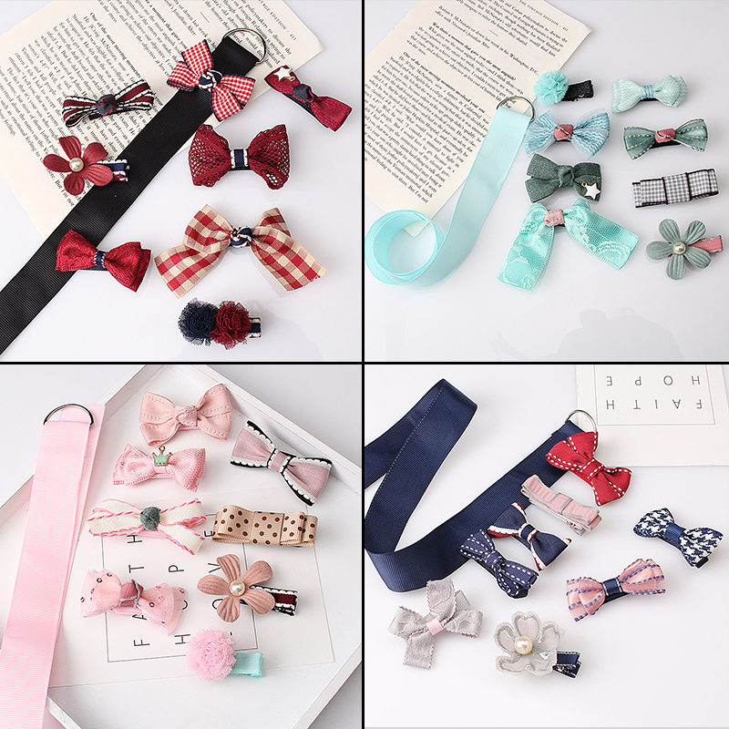 M MISM 17PCS/8PCS Ribbon Bow Flower Hairgrips Hairpins Hair Accessories Set Scrunchy Hair Clips Kid Girls Elastic Hair Band m mism new arrival korean style girls hair elastics big bow dot flora ponytail rubber hair rope hair accessories scrunchy women