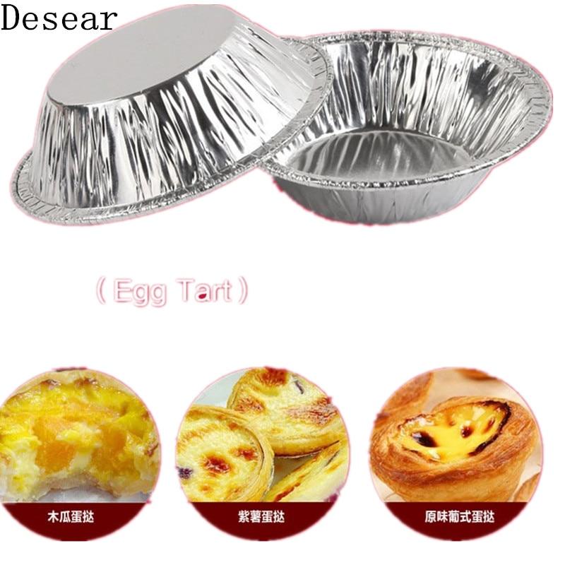 50Pcs Disposable Tart Egg Mold Aluminum Foil Cupcake Cake Tin Cookie Baking Tool
