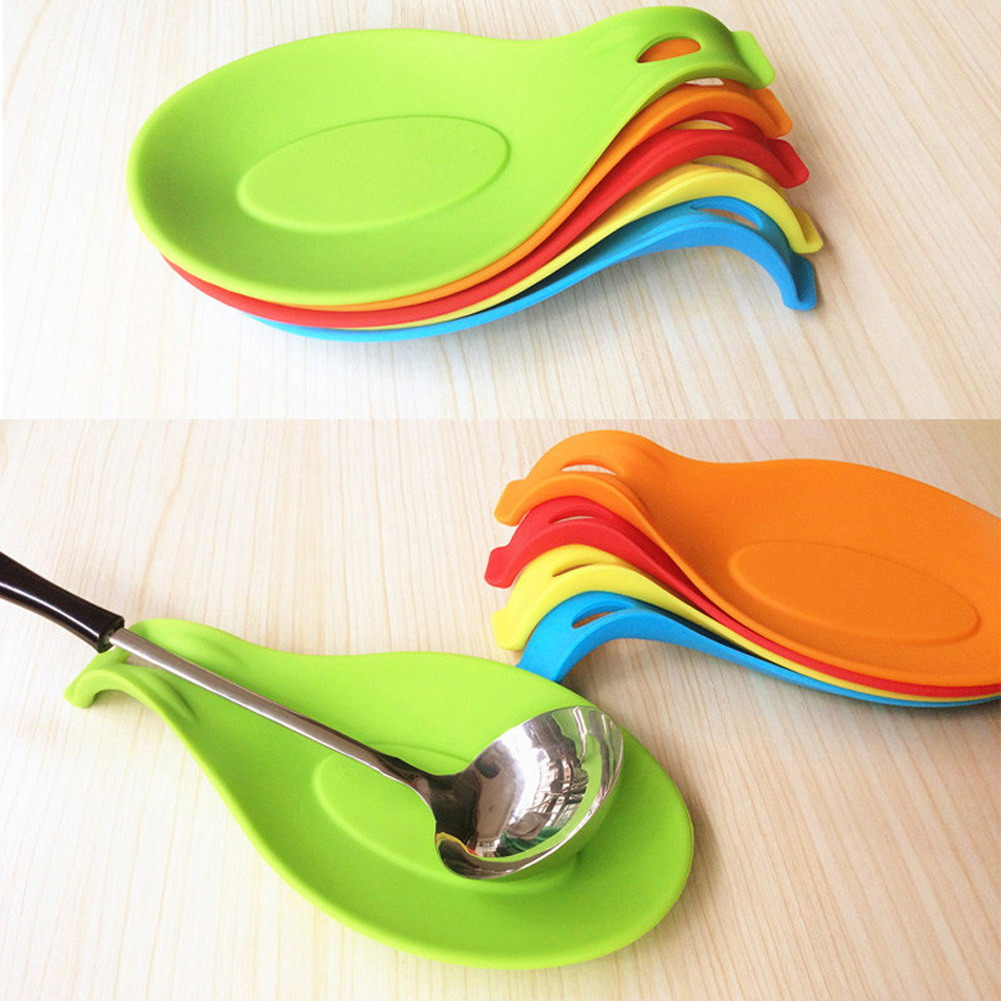 Attractive 1pc Silicone Spoon Insulation Mat Silicone Heat Resistant  Placemat Drink Glass Coaster Tray Spoon Pad