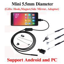 5.5MM USB Endoscope 6 LED IP67 Waterproof Camera USB Android Endoscope 1M/2M/3.5M/5M,Mini Camera Hook Mirror As Gift!!