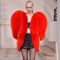 3D Red Love Heart Shaped Cape Faux Fox Fur Thick Warm Celebrity Women Long Hairy Shaggy Coat Jacket Outerwear Winter Tops