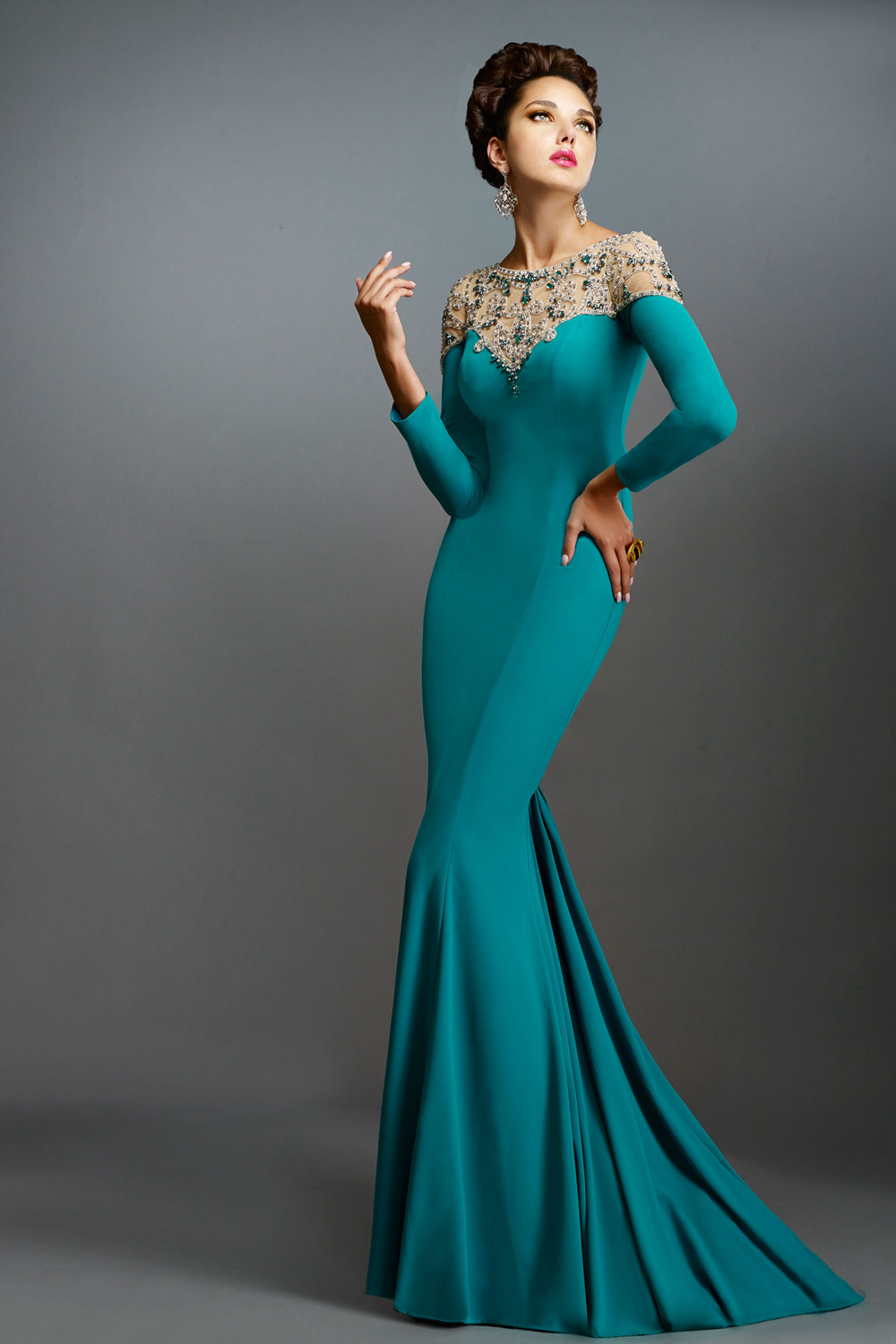 Popular Turquoise Evening Gown-Buy Cheap Turquoise Evening Gown ...