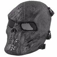 Máscara del partido Negro Hombre Tactical Airsoft Máscara Typhon Camuflaje Cráneo de La Cara Llena Protect Mask Máscaras Envío de La Gota