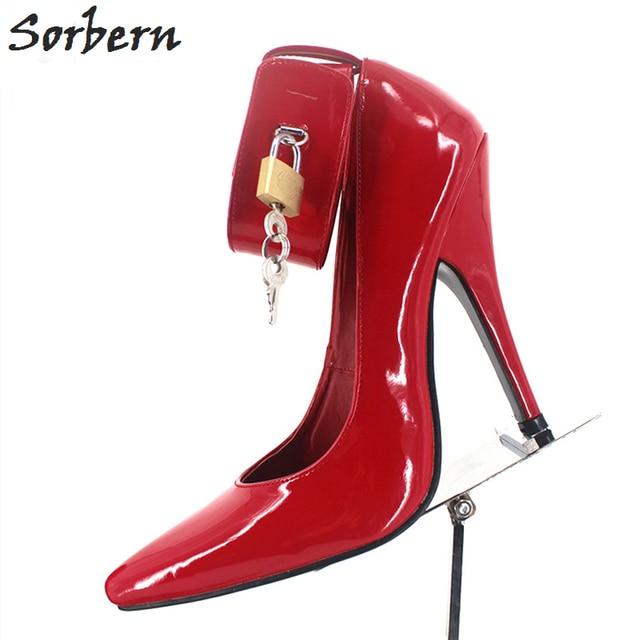 Sorbern Sexy Bdsm Women Pumps High Heels Ankle Straps Lock Keys Pole Dance  Party Shoes Night 32fe74eaeba3