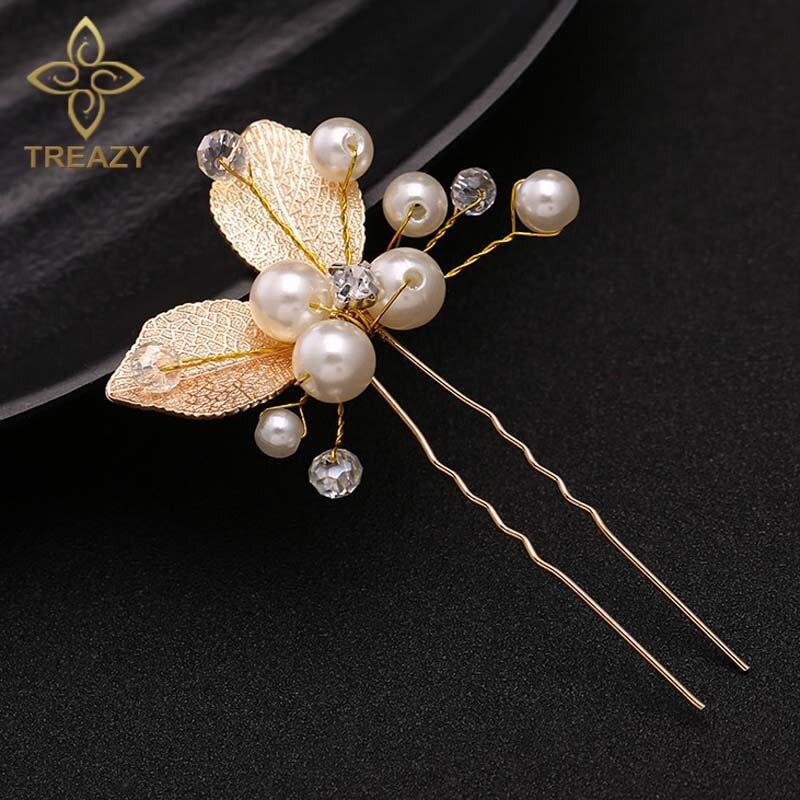 Treazy 3 unids simulado perla hoja de cristal hechos a mano pelo Palos  nupcial Bisutería para pelo oro color boda Accesorios de pelo a38166dc4ce4