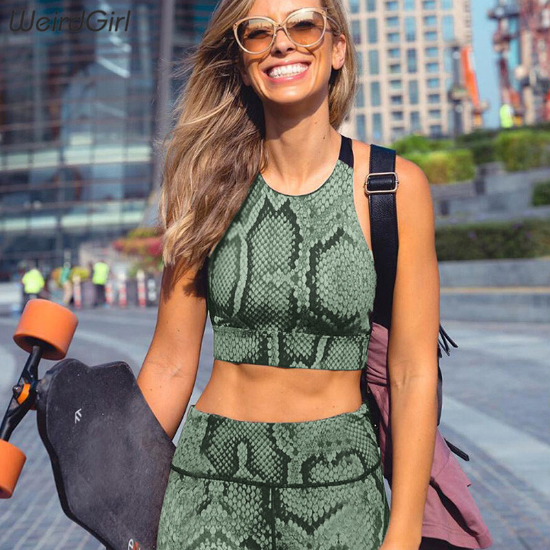 Weirdgirl women sportswear fitness snake pattern 2 pieces set stracksuit print casual sleeveless gym clothing slim thin
