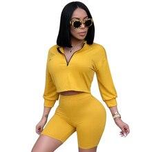 цены на Summer Rompers Womens Jumpsuit Casual 3/4 Sleeve Zipper Short Pants Bodycon Playsuit Solid Two Piece Set Playsuits Sexy Bodysuit  в интернет-магазинах