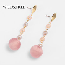Wild&Free Cute Round Pom Pom Ball Drop Earrings Women Girl Gold Metal Earring Pink Brown Gray Crystal Glass Long Chain Earrings(China)