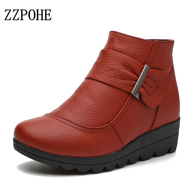 ZZPOHE 2017 Fashion Women's Boots Woman Genuine Leather Ankle Boots women warm plush winter shoes Woman Snow Comfortable Boots ekoak new 2017 winter boots fashion women boots warm plush mid calf boots ladies platform shoes woman rubber leather snow boots