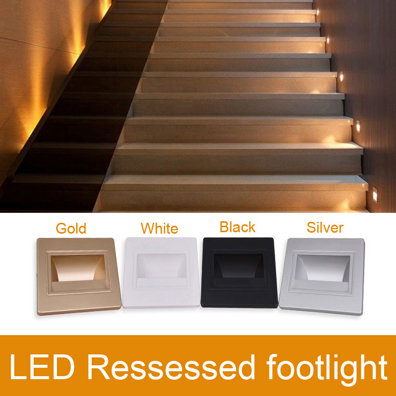 LED Ressessed Footlights AC90~260V Indoor LED Footlight 5 LED 1.5W Warm White Led Wall Light Black/gold/silver/white