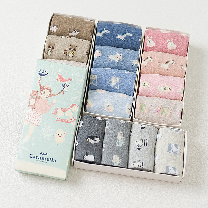 Gift Box women cute cartoon animal series cotton   socks   for ladies autumn winter fashion   socks   4pairs/box