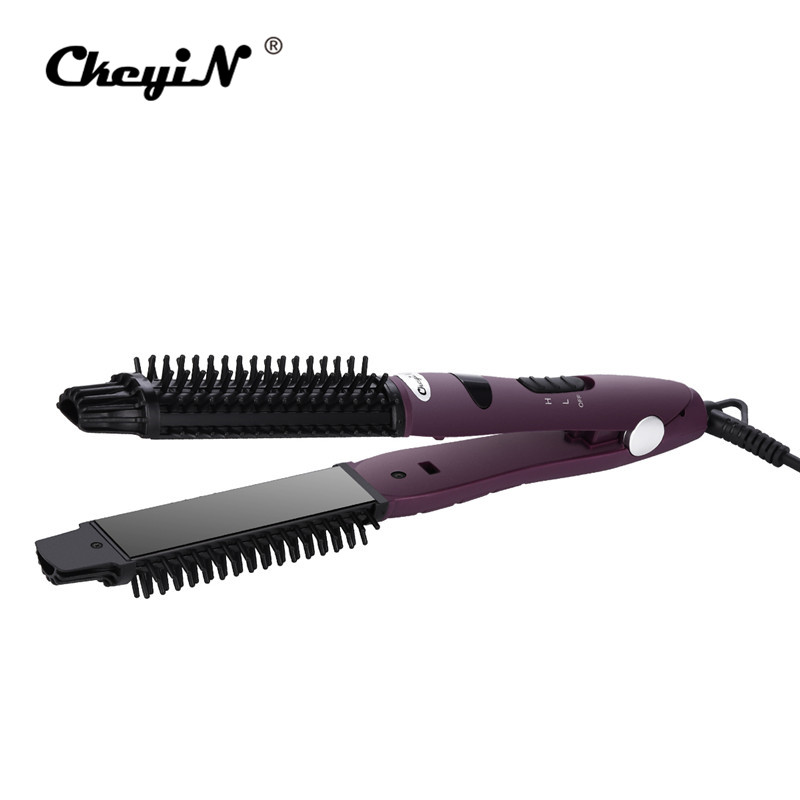 2 in 1 Hair Straightener Ceramic Flat Irons Straightening Brush Curling Electric Hair Curler Comb Hair Brush Styling Tools Salon 2 in 1 portable multifunctional anti scald fast hair straightener comb hair curler brush electric straightening irons comb