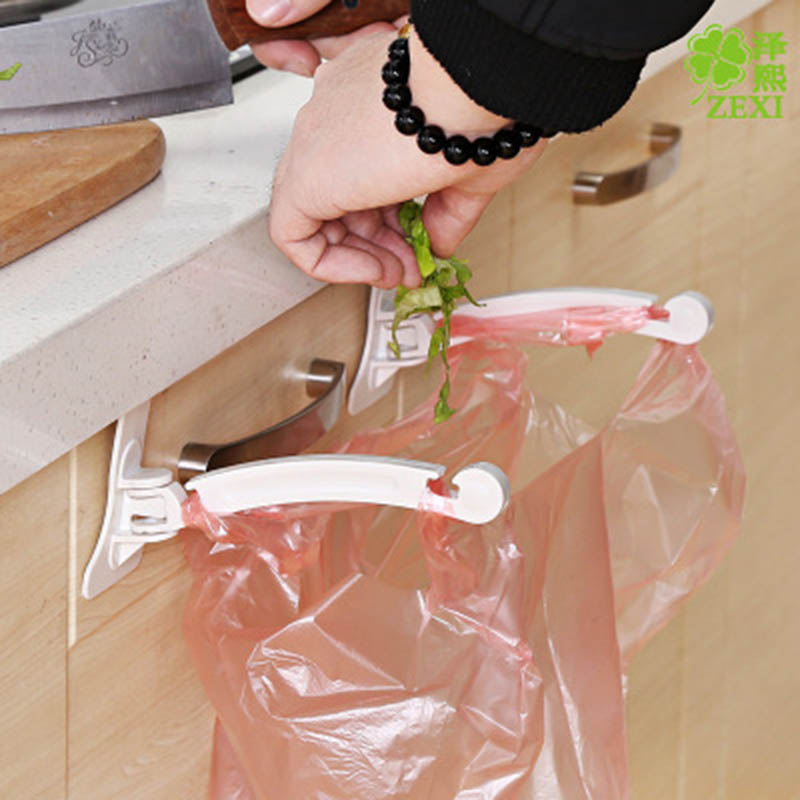 Kitchen Cabinet bags hooks Trash Garbage Bag Hanger Cupboard Door Hanging Rack holder for storage bag kitchen accessories 2pcs