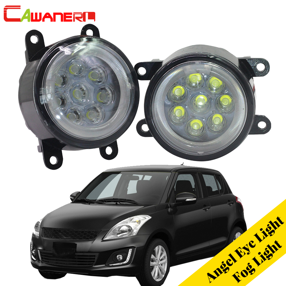 Cawanerl For Suzuki Swift MZ EZ Hatchback 2005-2015 2 X Car LED Lamp Fog Light Angel Eye DRL Daytime Running Light 12V Styling for suzuki vitara escudo 4th 2015 2016 car drl 12v led daytime running light turn lights fog light waterproof auto lamp styling