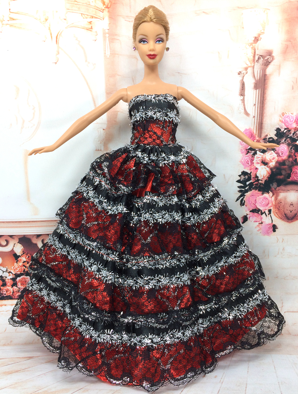 NK One Pcs Handmade Princess Wedding Dress Noble Party Gown For Barbie Doll Fashion Design Outfit Best Gift For Girl' Doll 037A
