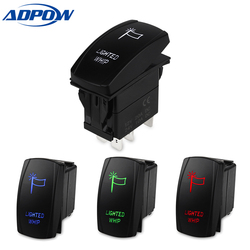 ADPOW 5pin Car Switch Boat Truck Light Led Toggle Switch Waterproof Bar Style Blue Toggle Rocker Reverse Rear Switch 12V