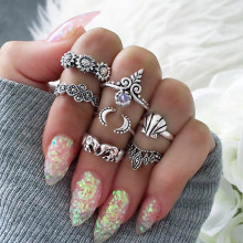 7 Pcs/set Women Fashion Gem Midi Ring Sets Crown Arrow Boho Vintage Crystal Opal Knuckle Rings Party Jewellery(China)
