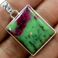 Genuine Ruby Zoisite Stone Pendant 100% 925 Sterling Silver Jewelry 38mm 13 G AP0701