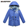 2016 Children Boys Down Jacket Winter Coat Outerwear Fashion Waterproof Hooded Letters Mid-long Outer Clothing High Quality