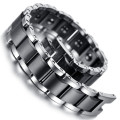 "Mens Tungsten Bracelet, Black & Silver, 7.7""  kb1496"