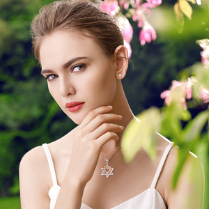 Image 4 - 925 Sterling Silver Rose Gold Heart Hexagonal Star Pendant Necklace 2020 Female Fine Jewelry Gift Support Wholesale