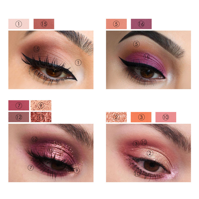 FOCALLURE New Sunrise Eye Shadow Palette Glitter Matte Pigment Eyeshadow Loose Powder Luxury Quality Eyeshadow 4