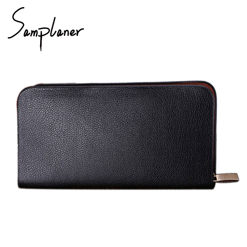 Samplaner Men Long Wallets Leather Purse Casual Mens Wallet Clutch Male Zipper Business Mens Wallet Coin Card Holders TY-Z30