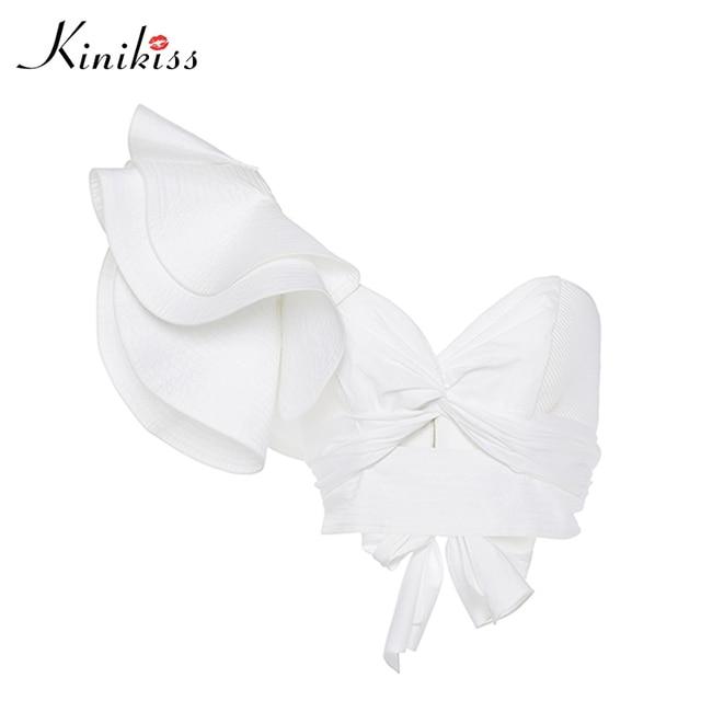 d352ed74fcad8 Kinikiss Sexy Blouse Crop Tops Women White Bow Tie Irregular Wing Sleeveless  Blouse Female Summer Beach Crop Tops