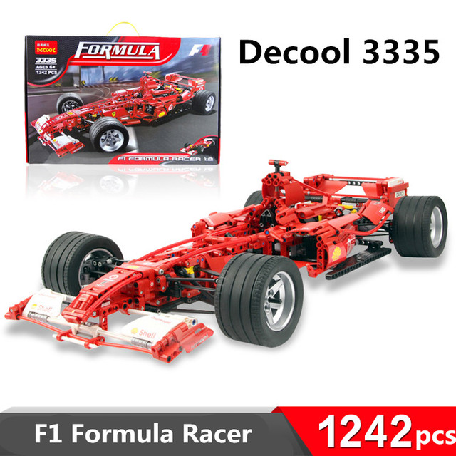 1242 unids decool 3335 bloques de construcción de juguete 1:8 modelo de coche de carreras de fórmula f1 ladrillos autoblocante leping compatible