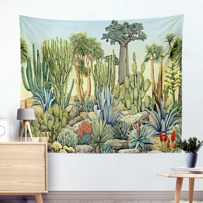 Vert Cactus Tenture Cactus Tapisserie Bohème 200*150 cm Couverture Serviette De Plage Couverture Pique-Nique Tapis De Yoga Décoration de La Maison Textiles
